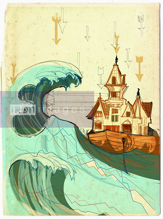 House in boat on stormy sea - House in boat on stormy sea - Alex Green