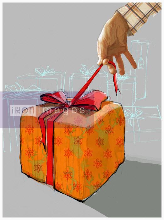 Man opening gift - Man opening gift - Alex Green