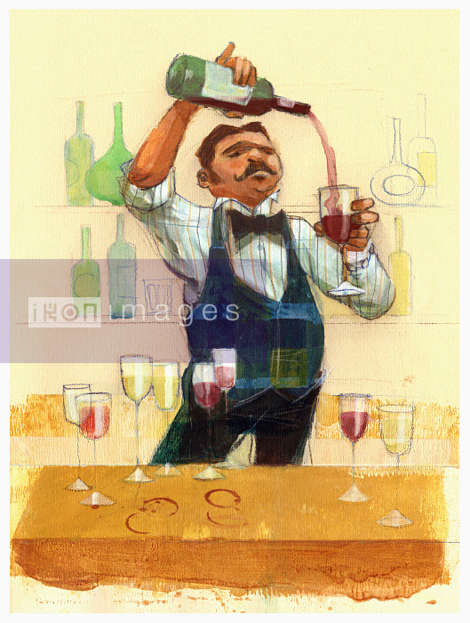Waiter pouring red wine - Waiter pouring red wine - Alex Green