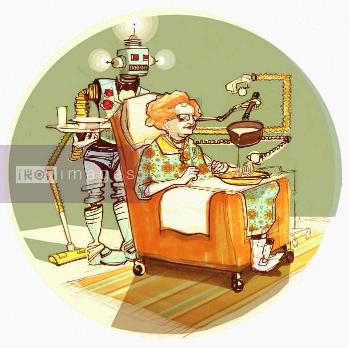 Robot serving old woman soup - Robot serving old woman soup - Alex Green