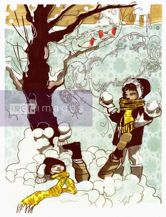 Children playing in snow - Children playing in snow - Alex Green