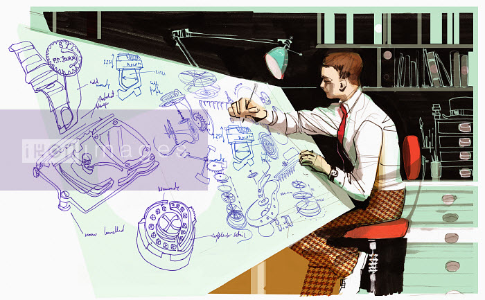Architect drawing at desk - Architect drawing at desk - Alex Green