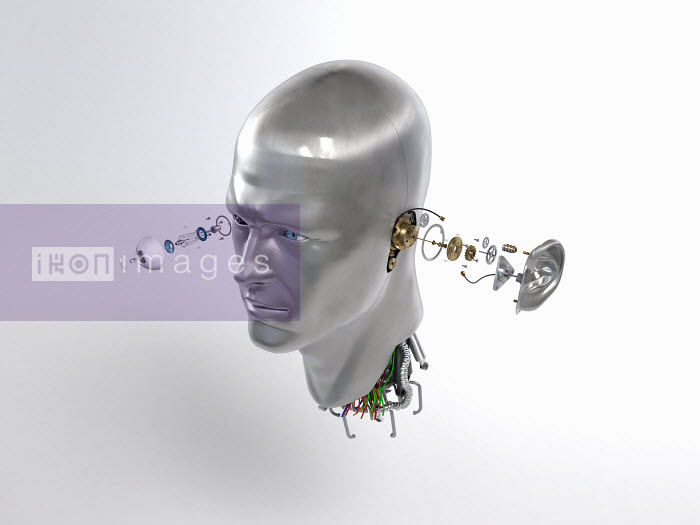 Male robot head with cogs and wires coming out of eye and ear - Male robot head with cogs and wires coming out of eye and ear - Justin Metz