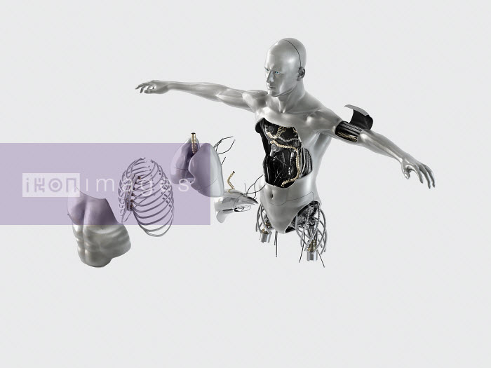Justin Metz - Male robot torso with internal organs and parts coming out