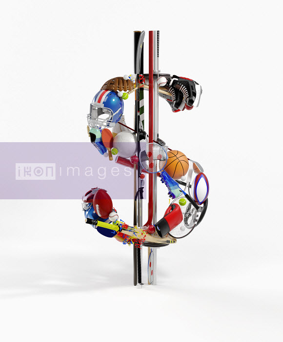 Sports equipment arranged in 3d dollar sign - Sports equipment arranged in 3d dollar sign - Justin Metz