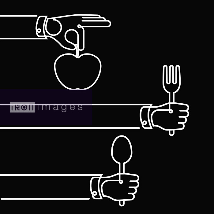Hands holding cutlery and apple - Hands holding cutlery and apple - Will Scobie