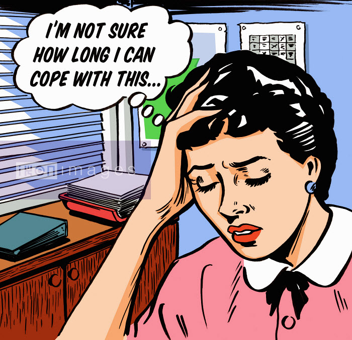 Frustrated businesswoman worrying in thought bubble - Frustrated businesswoman worrying in thought bubble - Jacquie Boyd