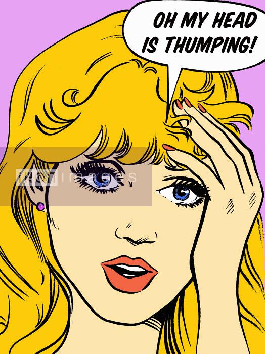 Woman with a headache talking in speech bubble - Woman with a headache talking in speech bubble - Jacquie Boyd
