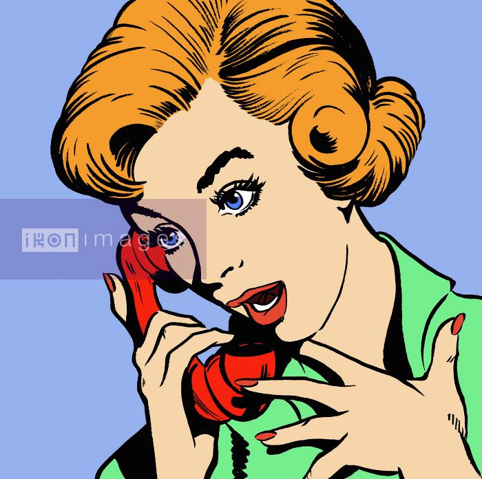 Surprised woman talking on telephone - Surprised woman talking on telephone - Jacquie Boyd