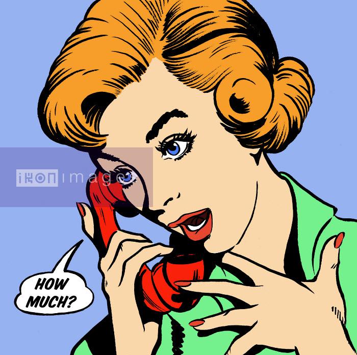 Surprised woman talking in speech bubble on telephone - Surprised woman talking in speech bubble on telephone - Jacquie Boyd