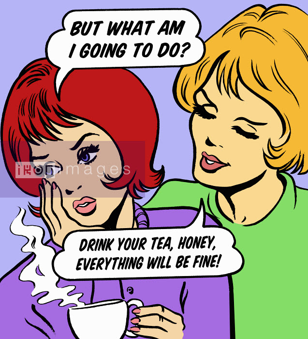 Woman consoling worried friend with tea - Woman consoling worried friend with tea - Jacquie Boyd