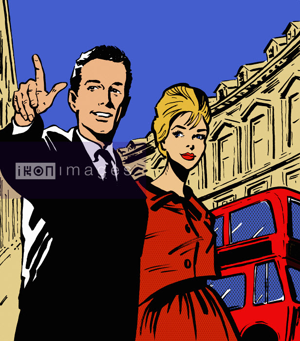 Retro couple sightseeing in London - Retro couple sightseeing in London - Jacquie Boyd