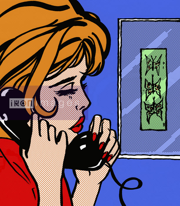 Close up of sad woman talking on telephone - Close up of sad woman talking on telephone - Jacquie Boyd