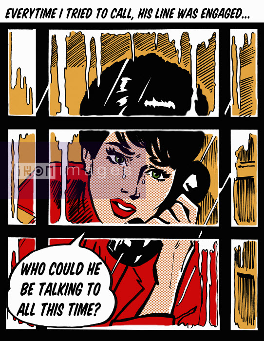 Crying woman in telephone box asking in speech bubble why her boyfriend's line is engaged - Crying woman in telephone box asking in speech bubble why her boyfriend's line is engaged - Jacquie Boyd