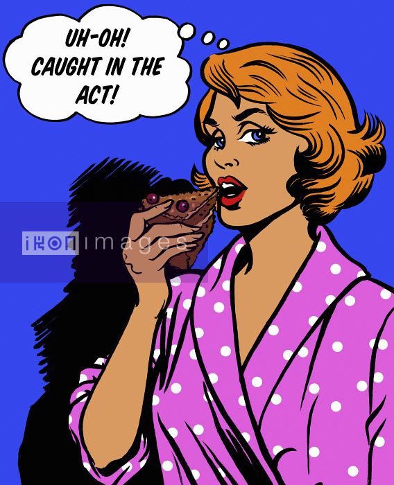 Woman with thought bubble getting caught in the act eating slice of chocolate cake - Woman with thought bubble getting caught in the act eating slice of chocolate cake - Jacquie Boyd