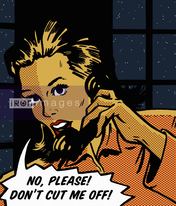 Woman talking on phone in telephone box asking in speech bubble not to be cut off - Woman talking on phone in telephone box asking in speech bubble not to be cut off - Jacquie Boyd
