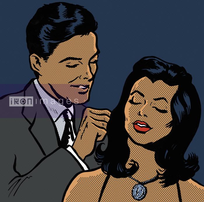 Man fastening necklace on girlfriend - Man fastening necklace on girlfriend - Jacquie Boyd