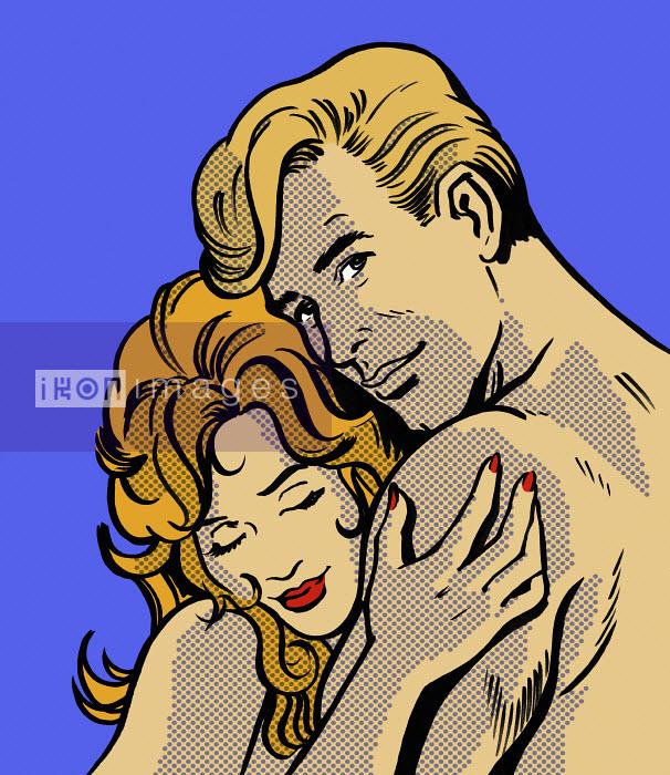 Close up cartoon of nude couple hugging - Close up cartoon of nude couple hugging - Jacquie Boyd