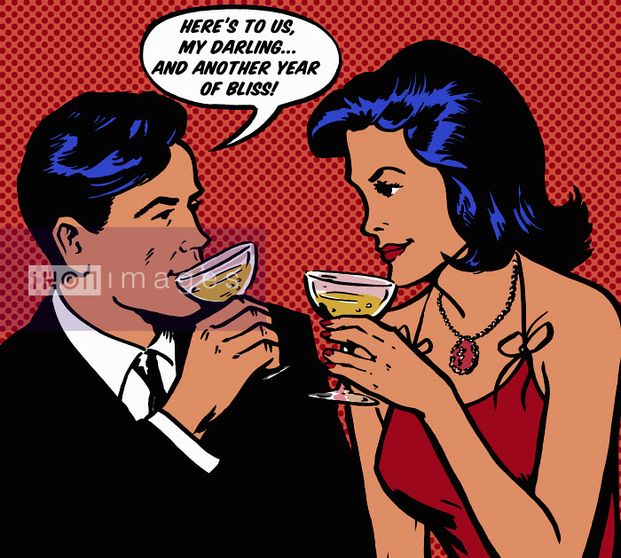 Retro couple celebrating anniversary with champagne - Retro couple celebrating anniversary with champagne - Jacquie Boyd