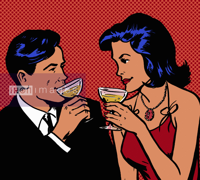 Retro couple drinking champagne - Retro couple drinking champagne - Jacquie Boyd