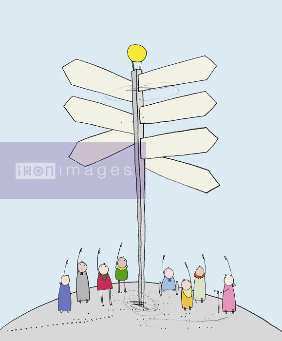 Craig Shuttlewood - People standing under milepost