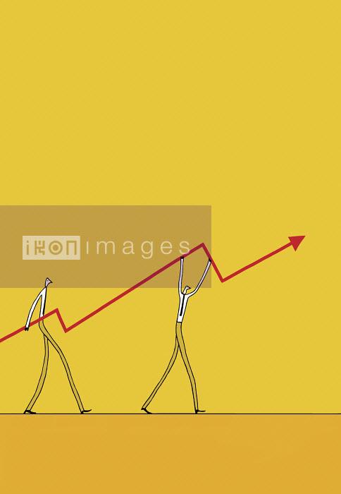 Justine Beckett - Businessmen carrying ascending arrow