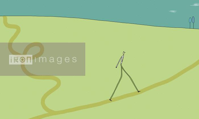 Justine Beckett - Businessman walking on straight path
