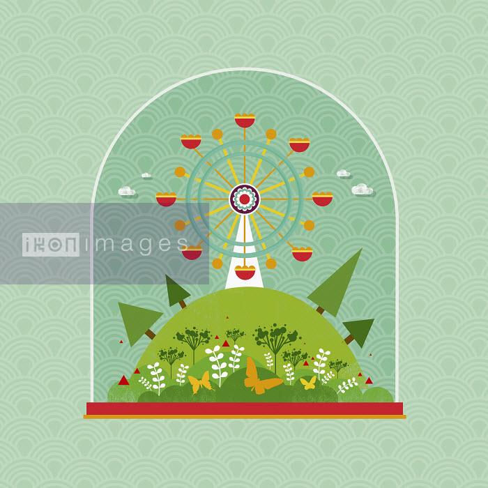 Yee Ting Kuit - Ferris wheel and idyllic scene in snow globe