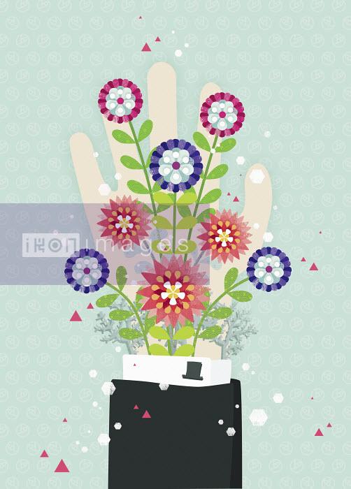 Yee Ting Kuit - Blooming flowers coming from man's sleeve