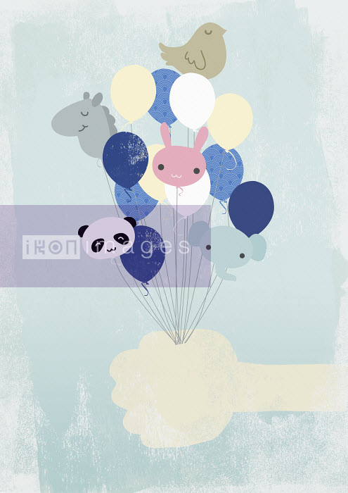 Yee Ting Kuit - Hand holding animal-shaped helium balloons