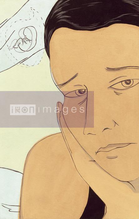 Katherine Siy - Sad woman thinking of embryo