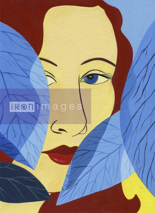 Katherine Siy - Woman peering from behind leaves