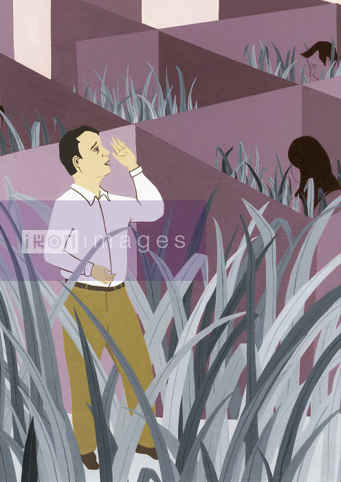 Katherine Siy - Businessman shouting from cubicle with tall grass