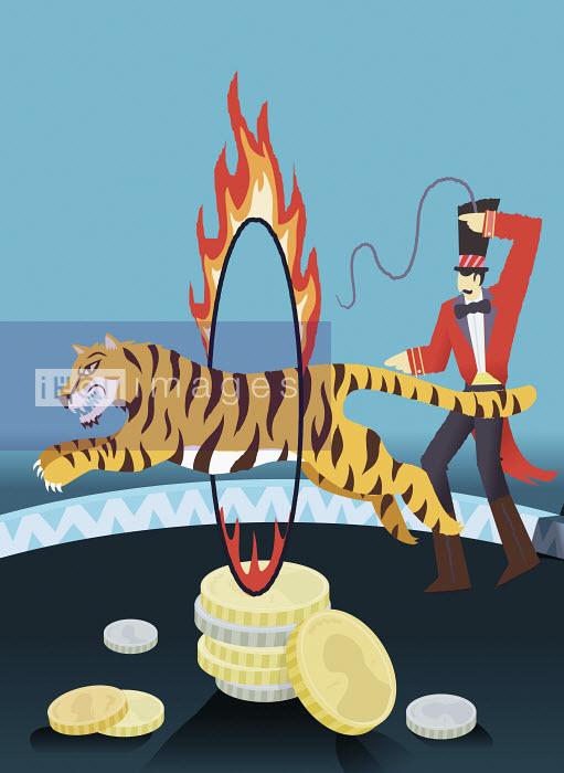 Steve Scott - Man guiding tiger through flaming hoop above coins