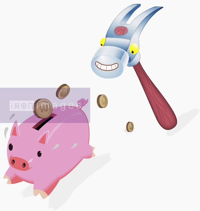 Anthropomorphic hammer chasing piggy bank - Anthropomorphic hammer chasing piggy bank - Steve Scott