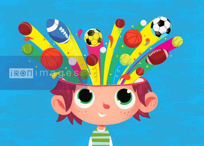 Boy with sports balls coming from his head - Boy with sports balls coming from his head - Steve Scott