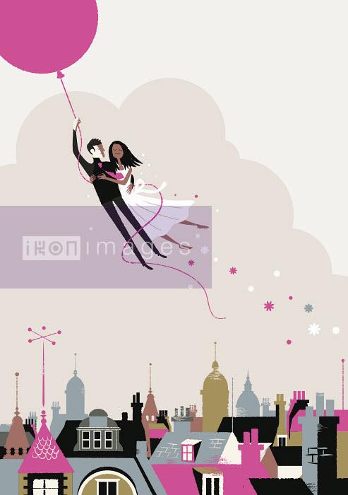 Steve Scott - Bride and groom flying off on helium balloon
