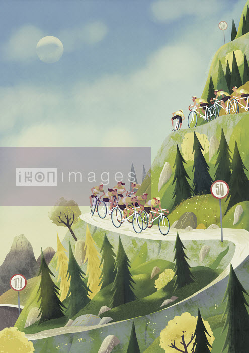 Steve Scott - Cyclists descending winding mountain road with hairpin bends