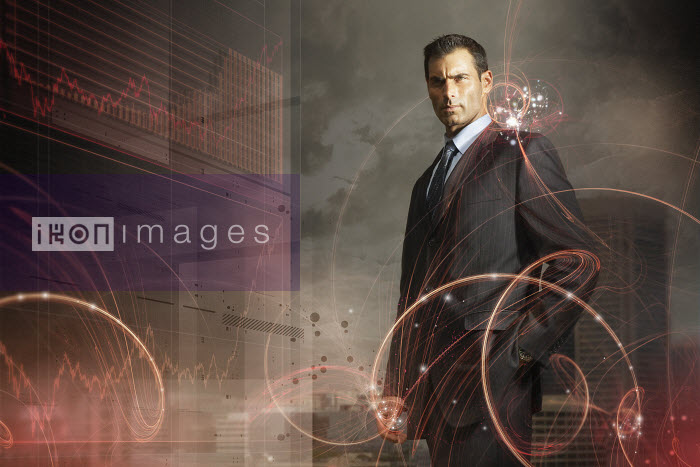 Red data graphics surrounding businessman - Red data graphics surrounding businessman - Aeriform & Christopher Robbins