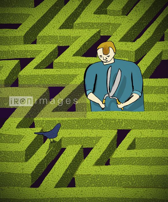 Jonathan Croft - Man trimming maze hedges