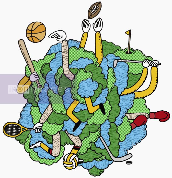 Men tangled in sports equipment - Men tangled in sports equipment - Matthew Dent