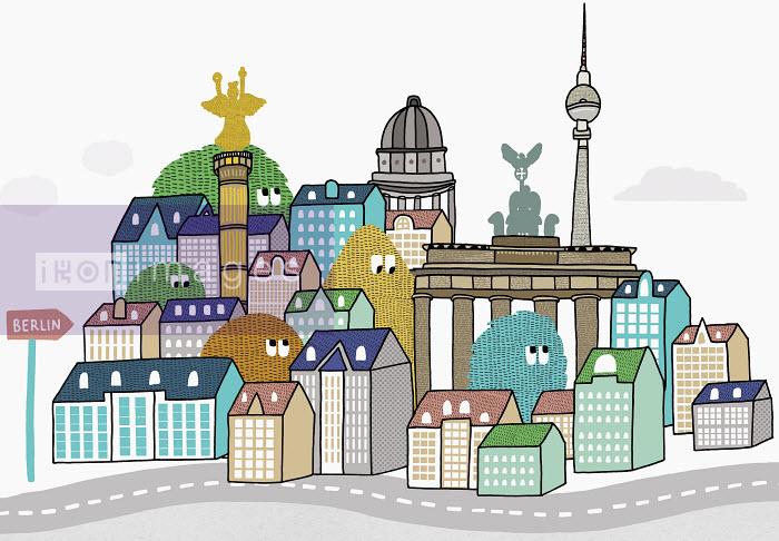 Matthew Dent - Creatures peering over Berlin rooftops