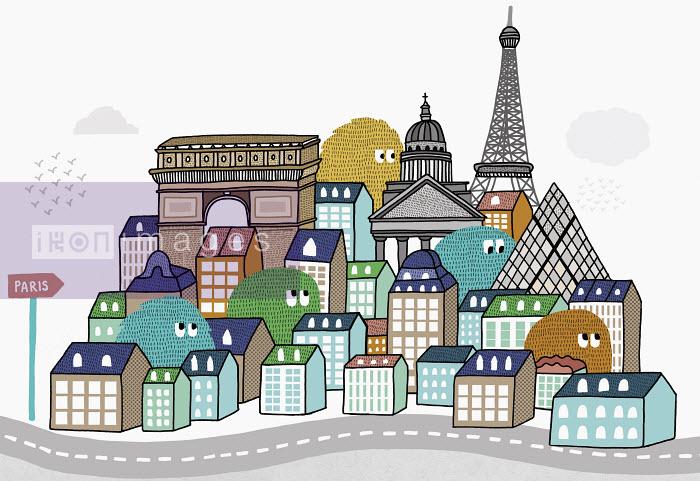 Matthew Dent - Creatures peering over Paris rooftops