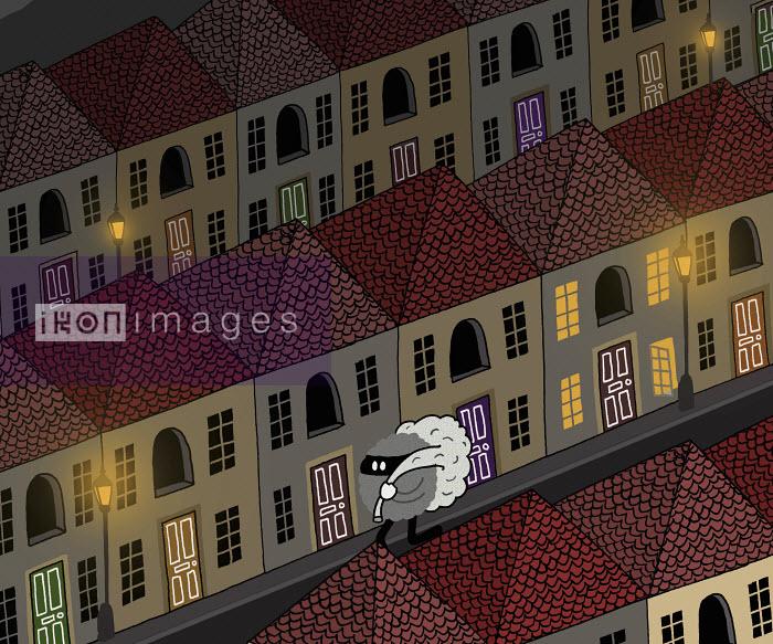 Burglar creature carrying bag down street at night - Burglar creature carrying bag down street at night - Matthew Dent