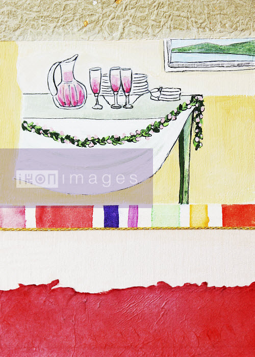 Stephanie Levy - Wine and dishes on table with garland