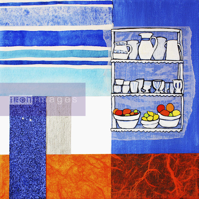 Stephanie Levy - Dishes and fruit on shelves