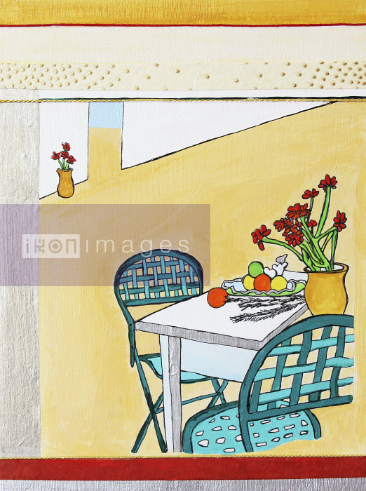 Stephanie Levy - Fruit and flowers on patio table