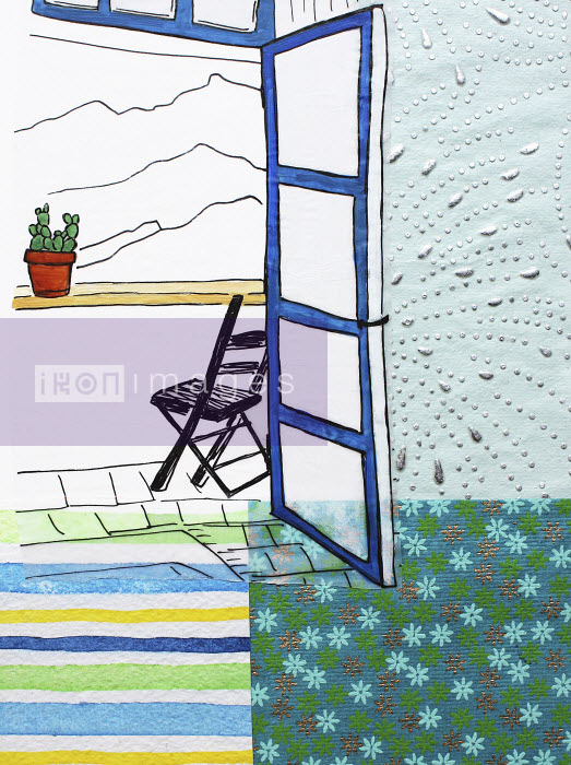 Stephanie Levy - View of mountains through doorway of balcony