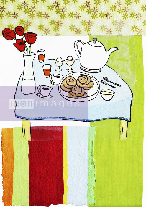 Stephanie Levy - Breakfast on table with flowers