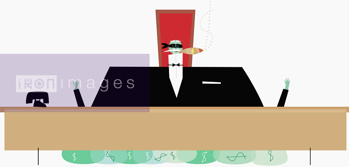 James Turner - Businessman smoking cigar with money bags under desk